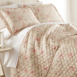 soft sand floral print cotton quilt bedroom set