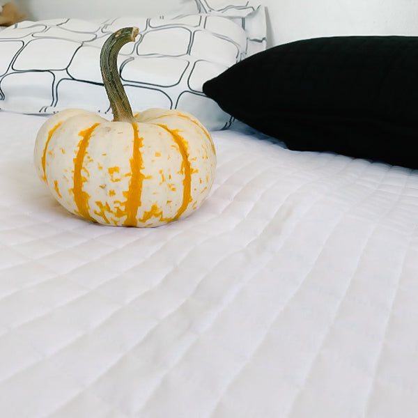 vilano quilt set with pumpkin on bed