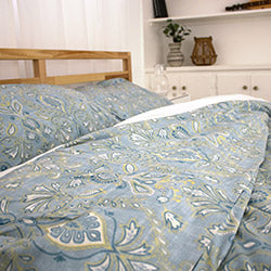blue paisley printed duvet cover bedroom set