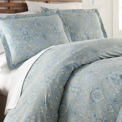 blue paisley print duvet cover bedroom set