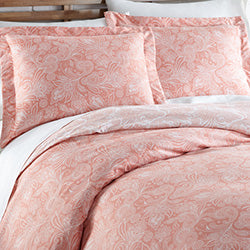 pink paisley print duvet cover and sham set