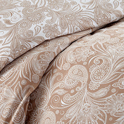 taupe and white paisley print duvet cover pattern closeup