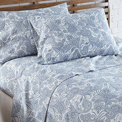 blue and white paisley print sheet bedroom set