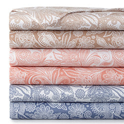 taupe, blue, pink, and white paisley printed sheet stack