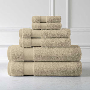 6 Piece Cotton 500 GSM Towel Set in Warm Sand
