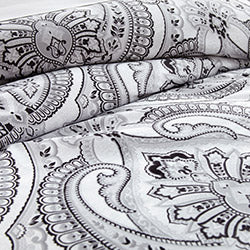 black and white paisley print comforter set pattern closeup
