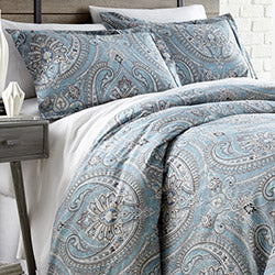 blue and grey paisley pattern comforter modern bedroom set