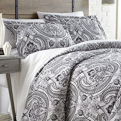 black and white paisley print duvet boho bedroom set