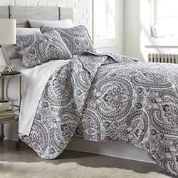 black and white paisley print quilt modern bedroom set