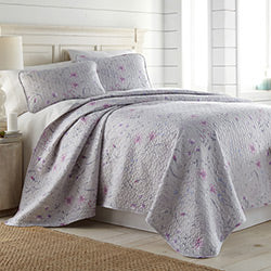 grey and pink floral print chic quilt and sham set