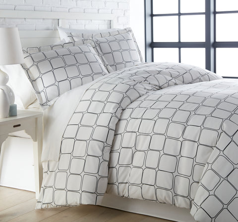 Tilted Tiles Duvet Cover Set in Black by Southshore Fine Linens