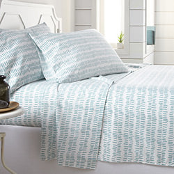 white and teal geometric pattern and modern bedroom sheet set