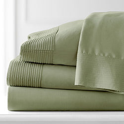 green pleated detail sheet set stack