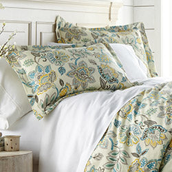 cream reversible floral print comforter and sham set