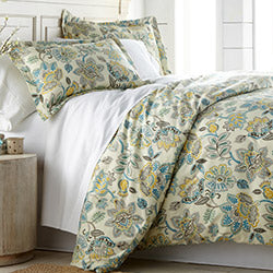 cream floral print and farmhouse bedroom comforter set