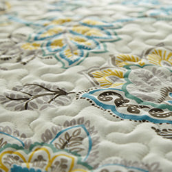 cream reversible floral print duvet pattern closeup