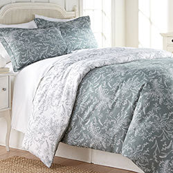 teal and white floral print and farmhouse bedroom comforter set