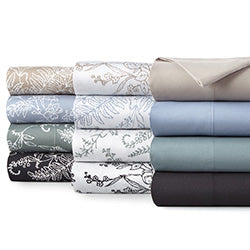 beige,blue, grey, green, black, and floral print duvet cover stack
