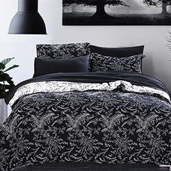 black and white floral print duvet cover and modern bedroom set