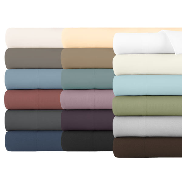 beige, brown, blue, red, black, grey, gold, teal, lavender, blue, white, and green pillowcase stack