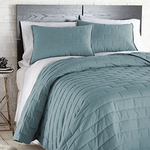 teal geometric stitching modern bedroom quilt set