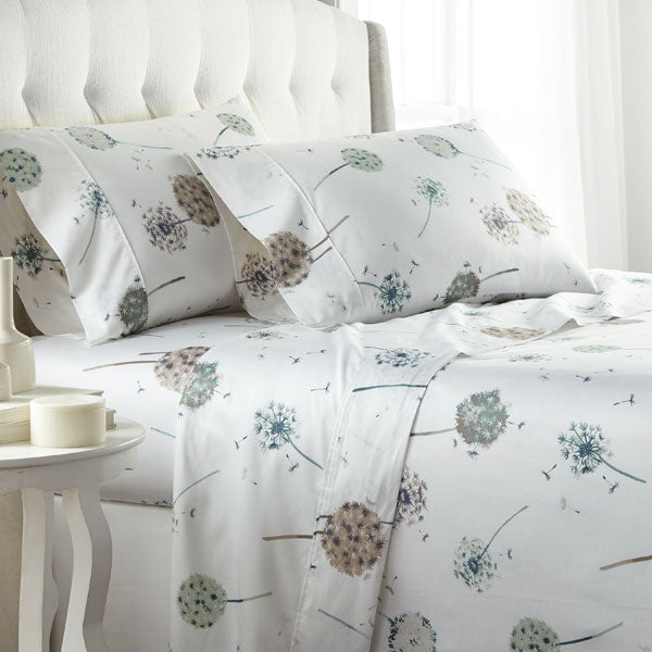 white dandelion print cotton pillowcases