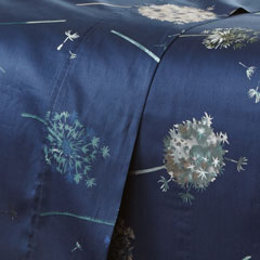 Blue dandelion dreams sheet set pattern closeup