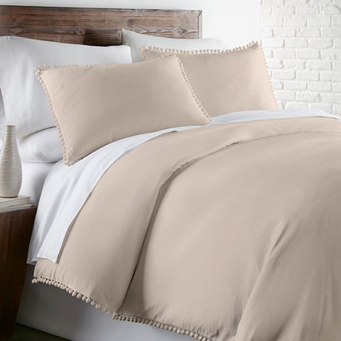 Pom-Pom Duvet Cover in Bone