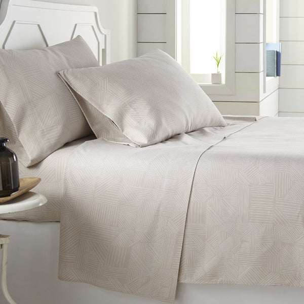 taupe and white striped print sheet and modern bedroom set