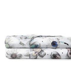 blue and grey cotton floral print sheet set stack