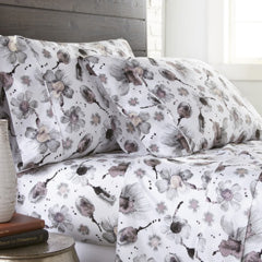 Grey floral print cotton pillowcases