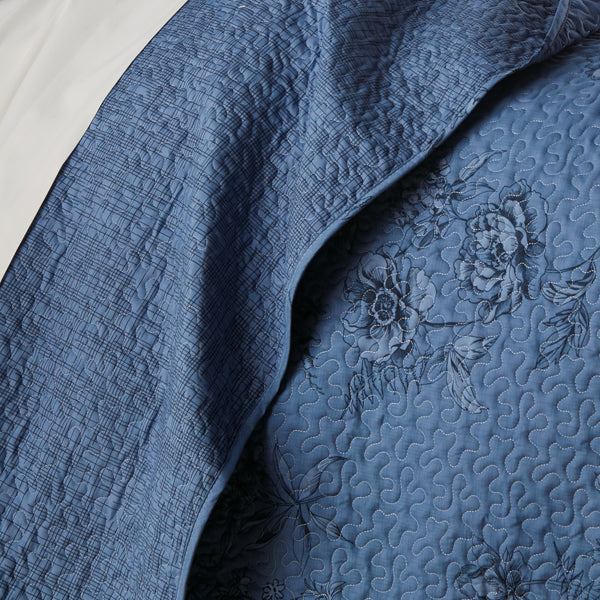 closeup of blue floral print pattern and embroidered detail of microfiber quilt set