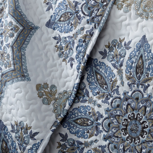 closeup of blue paisley print pattern of microfiber quilt set