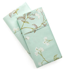 green cotton sateen floral printed pillowcases