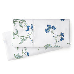 white and blue floral print cotton pillowcase set