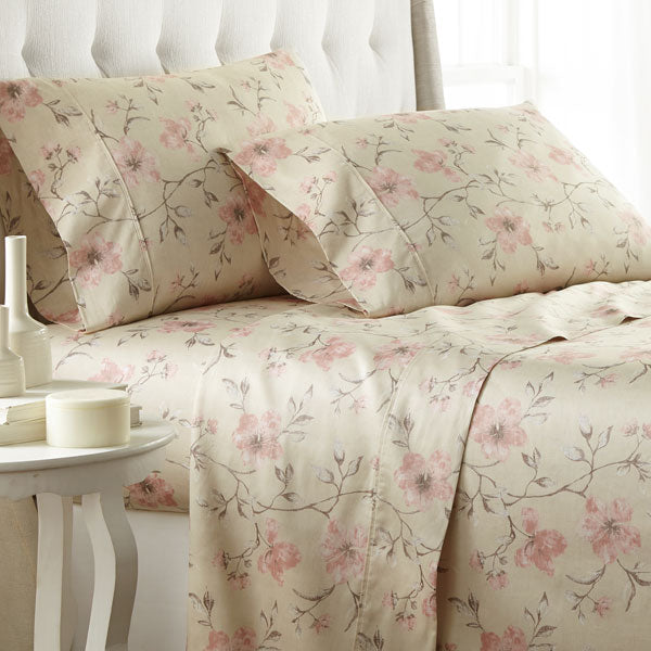 sand floral print cotton pillowcase set