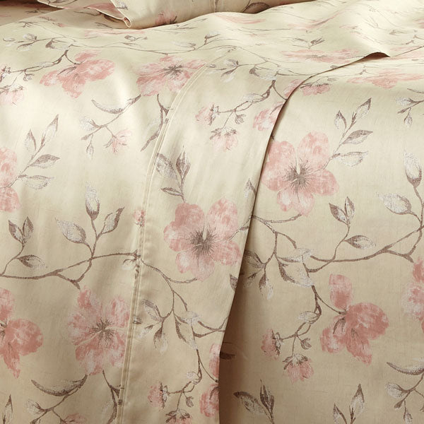 sand floral print cotton sheet set pattern closeup