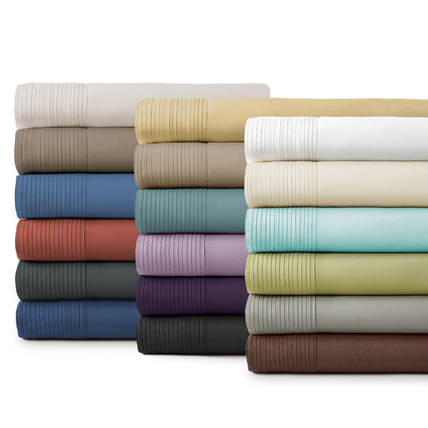 all colors pleated sheet set stack