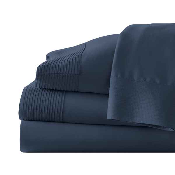 navy blue pleated sheet set stack