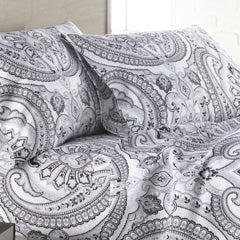 black and white paisley printed pillowcase bedroom set