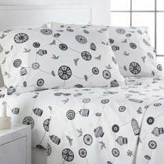 black and white, bird and cage pattern, and mid-century bedroom sheet set