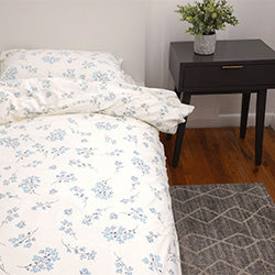 cream and blue floral print duvet farmhouse bedroom set