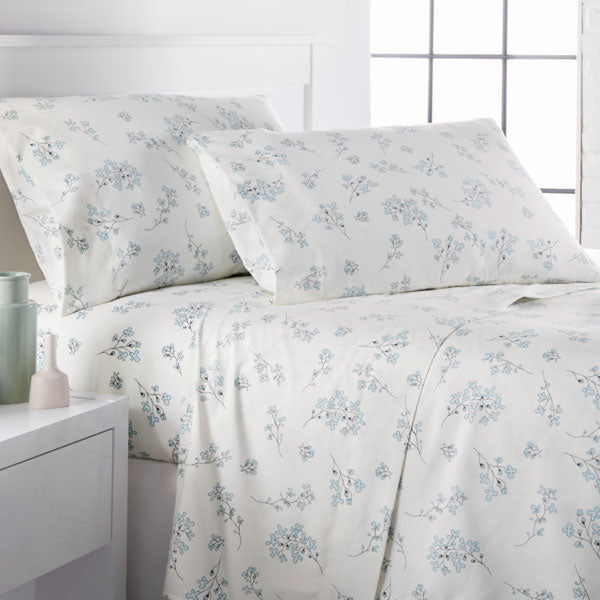 cream and blue floral print farmhouse bedroom sheet set
