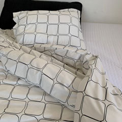 black and white geometric pattern and modern bedroom duvet cover set