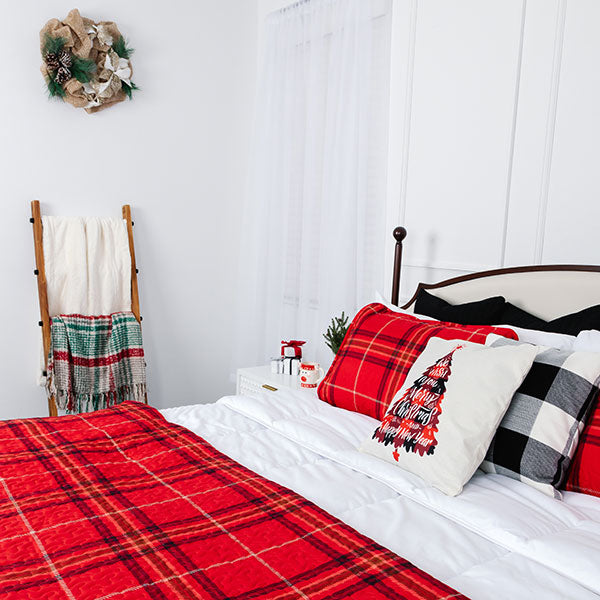 vilano comforter in a christmas themed room