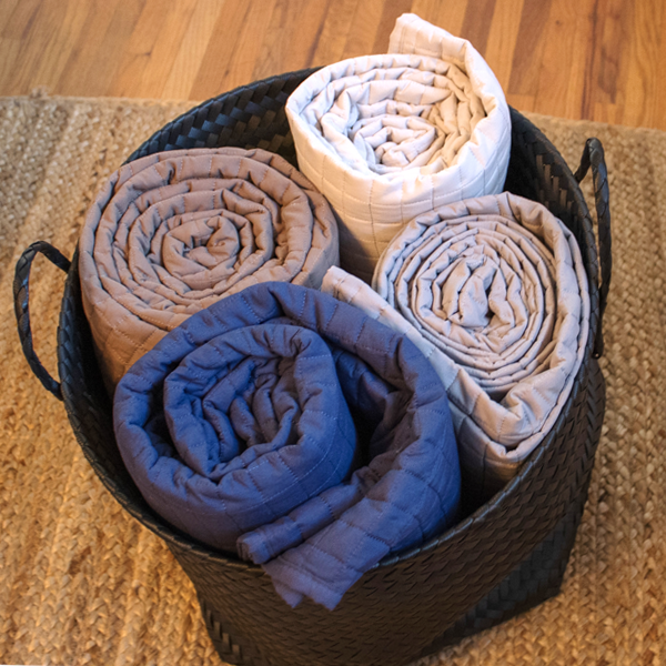 blue, brown, and beige microfiber quilt basket set
