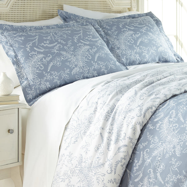 blue and white floral print comforter and sham set