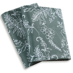 teal and white floral print pillowcases