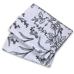 white and black floral print pillowcases