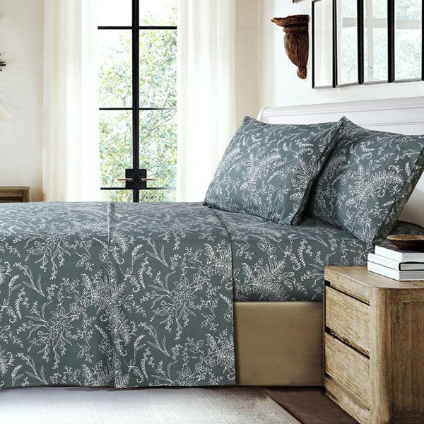 teal and white floral print pattern and modern bedroom set